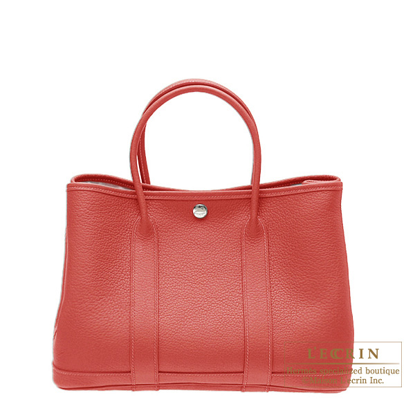 Hermes Garden Party bag TPM Rouge venitienne/Venetian red Buffalo leather