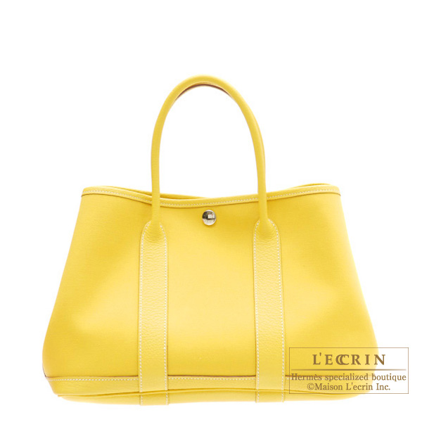 Hermes Garden Party bag TPM Soleil/Yellow Cotton canvas with buffalo leather