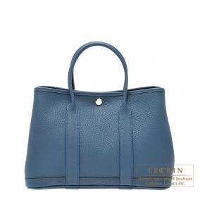 Hermes Garden Party bag TPM Blue tempete Country leather