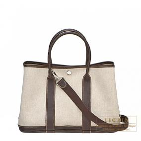 Hermes Garden Party bag TPM Cocaon marron Natural cotton canvas with buffalo leather