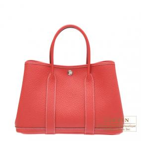 Hermes Garden Party bag TPM Rouge casaque/Bright red Country leather