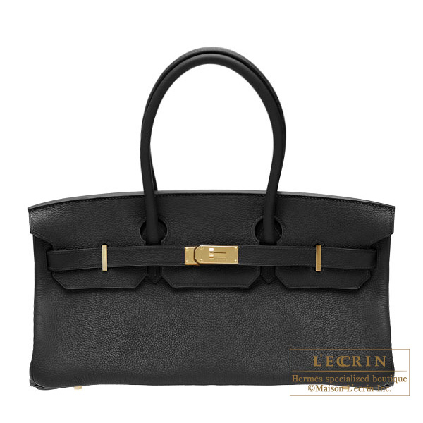 Hermes JPG Shoulder Birkin Black Clemence leather Gold hardware
