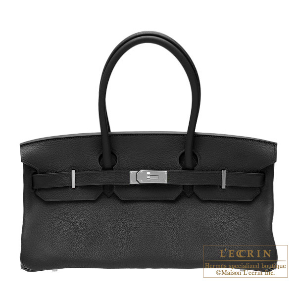 Hermes JPG Shoulder Birkin Black Clemence leather Silver hardware