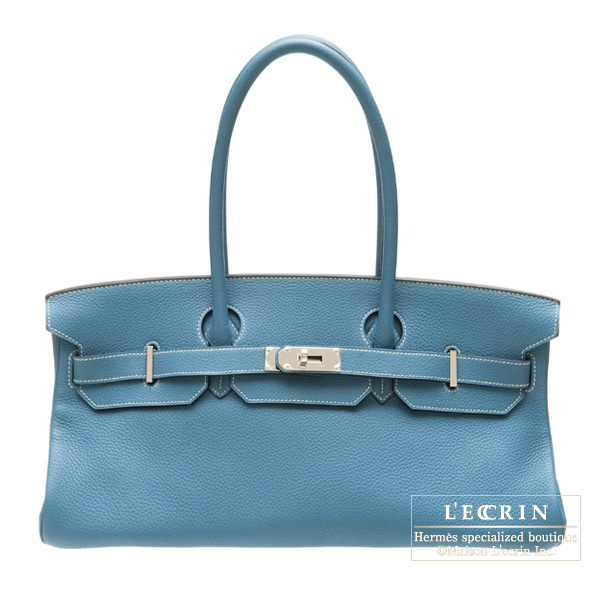 Hermes JPG Shoulder Birkin Blue jean Clemence leather Silver hardware