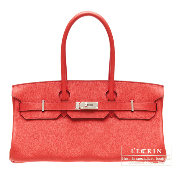 Hermes JPG Shoulder Birkin Bougainvillier Clemence leather Silver hardware