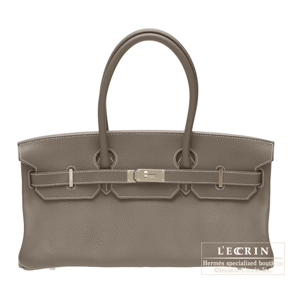 Hermes JPG Shoulder Birkin Etoupe/Taupe grey Clemence leather Silver hardware
