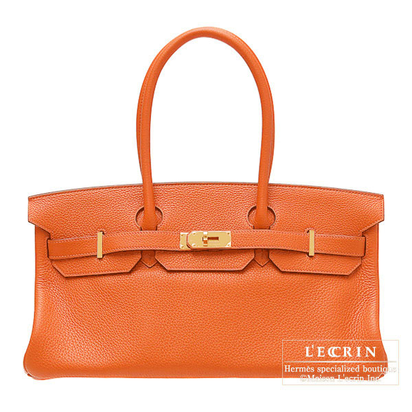 Hermes JPG Shoulder Birkin Orange Clemence leather Gold hardware
