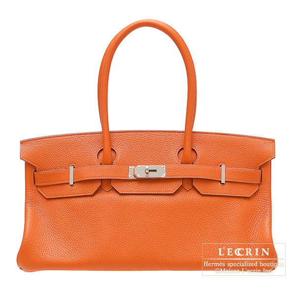 Hermes JPG Shoulder Birkin Orange Clemence leather Silver hardware