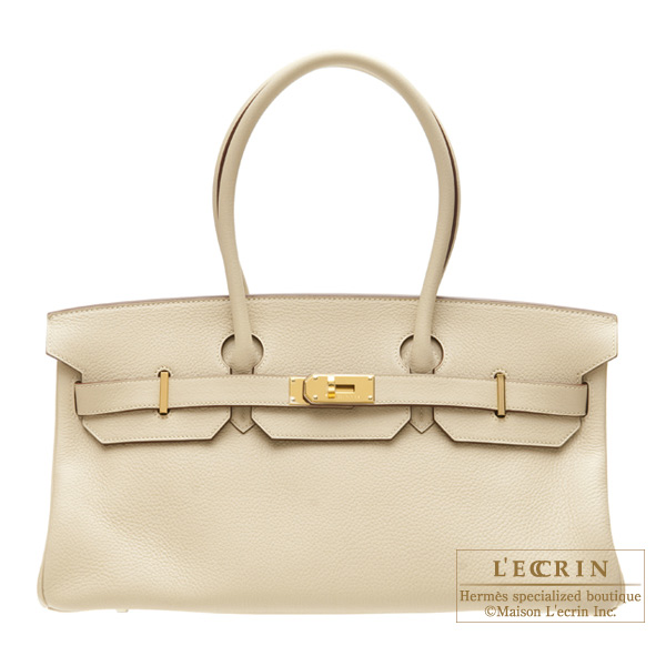 Hermes JPG Shoulder Birkin Parchemin/Parchment beige Clemence leather Gold hardware