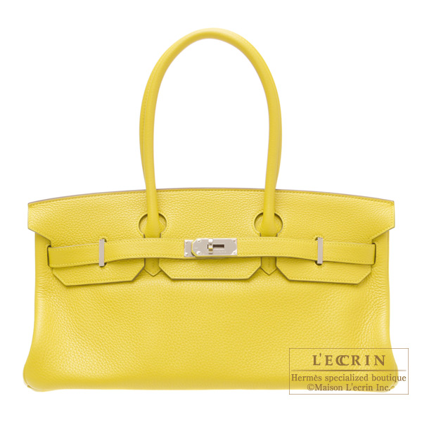 Hermes JPG Shoulder Birkin Soleil/Yellow Clemence leather Silver hardware