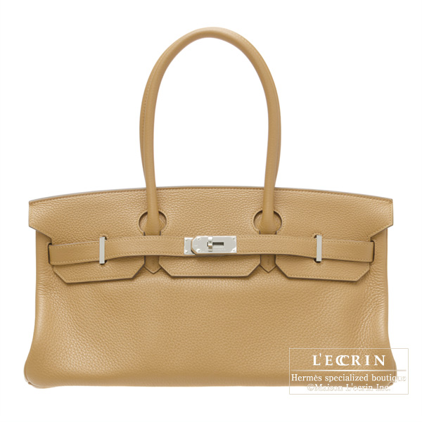 Hermes JPG Shoulder BirkinTabac camel Clemence leather Silver hardware