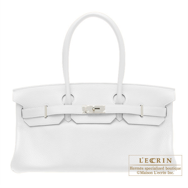 Hermes JPG Shoulder Birkin White Clemence leather Silver hardware