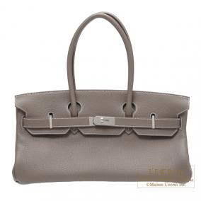 Hermes JPG Shoulder Birkin Etoupe/Taupe grey Togo leather Silver hardware