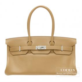 Hermes JPG Shoulder Birkin Tabac camel Clemence leather Silver hardware