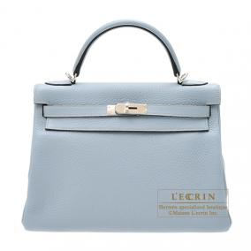 Hermes Kelly Amazon bag 32 retourne Bleu lin/Linen blue Clemence leather Silver hardware