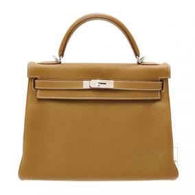 Hermes Kelly Amazon bag 32 retourne Kraft/Kraft beige Clemence leather Silver hardware