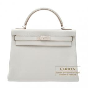 Hermes Kelly Amazon bag 32 retourne Pearl grey Clemence leather Silver hardware