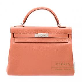 Hermes Kelly Amazon bag 32 retourne Rose the laiton/Rose tea Clemence leather Silver hardware