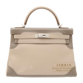 Hermes Kelly Ghillies bag 32 retourne Bi-color Argile/Taupe grey Swift leather Silver hardware