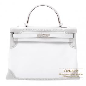 Hermes Kelly Ghillies bag 35 retourne Bi-color White/ Gris Perle Swift leather Silver hardware