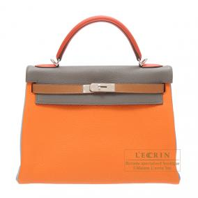 Hermes Kelly arlequin bag 32 retourne Tri-color Orange/Etain grey/Sanguine Clemence leather Silver h