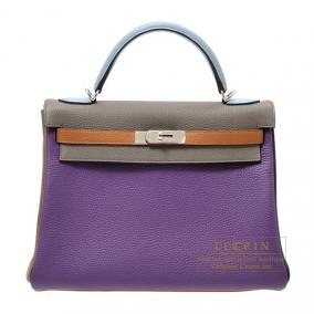 Hermes Kelly arlequin bag 32 retourne Tri-color Ultraviolet/Etain grey/Linen blue Clemence leather S