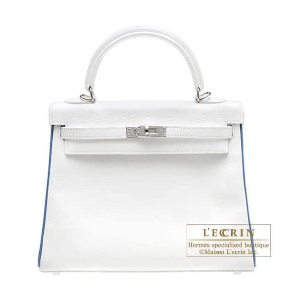 Hermes Kelly bag 25 retourne White/Blue jean Epsom leather Silver hardware