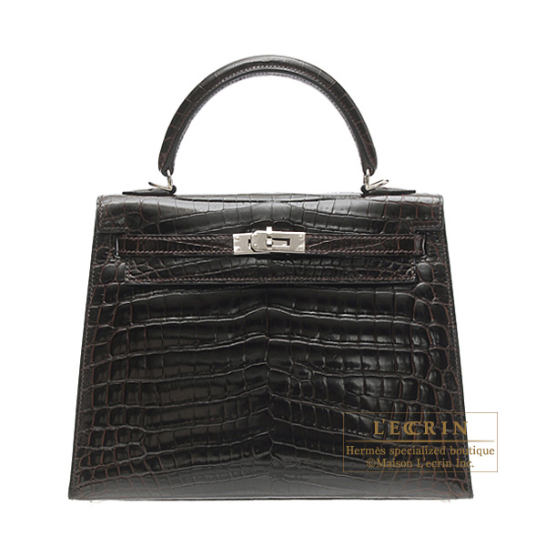 Hermes Kelly bag 25 sellier Cocaon/Dark brown Niloticus crocodile skin Silver hardware