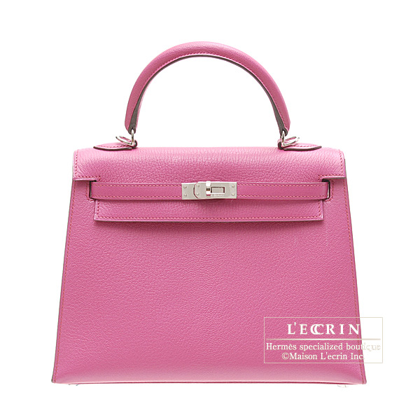Hermes Kelly bag 25 sellier Rose shocking/Hot pink Chevre goatskin Silver hardware