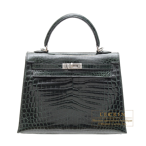 Hermes Kelly bag 25 sellier Vert fonce/Dark green Niloticus crocodile skin Silver hardware