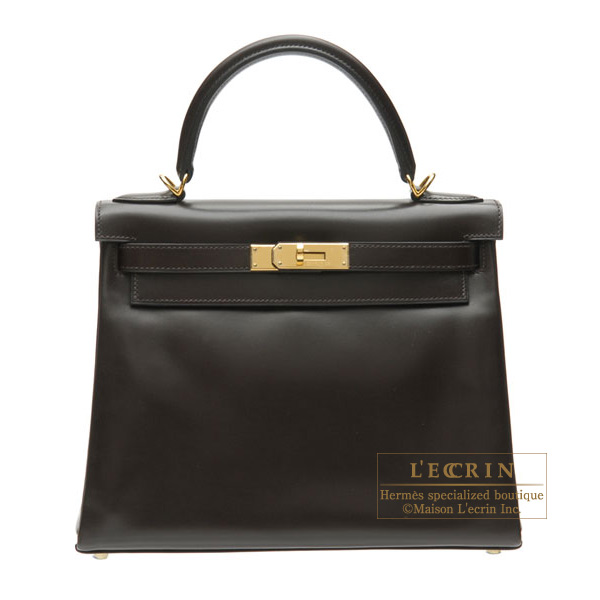Hermes Kelly bag 28 retourne Chocolat/Chocolate Box calf leather Gold hardware