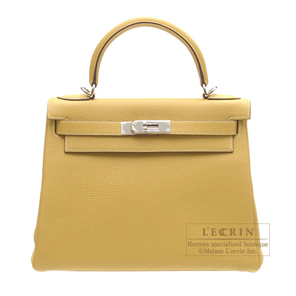Hermes Kelly bag 28 retourne Curry/Yellow Clemence leather Silver hardware