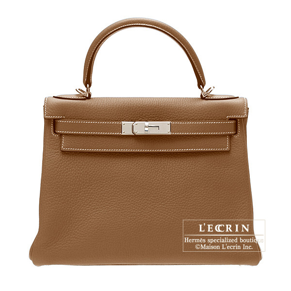 Hermes Kelly bag 28 retourne Gold Togo leather Silver hardware