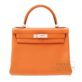 Hermes Kelly bag 28 retourne Orange Togo leather Silver hardware
