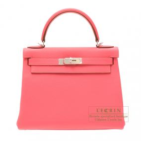 Hermes Kelly bag 28 retourne Rose lipstick Togo leather Silver hardware