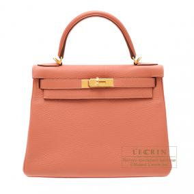 Hermes Kelly bag 28 retourne Rose the laiton/Rose tea Clemence leather Gold hardware