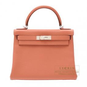 Hermes Kelly bag 28 retourne Rose the laiton/Rose tea Clemence leather Silver hardware