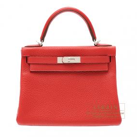 Hermes Kelly bag 28 retourne Rouge casaque/Bright red Clemence leather Silver hardware