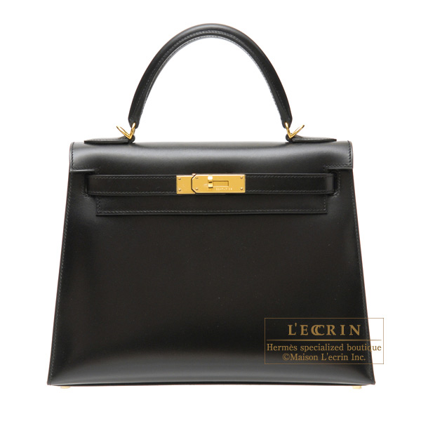 Hermes Kelly bag 28 sellier Black Box calf leather Gold hardware
