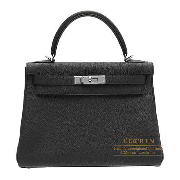 Hermes Kelly bag 32 retourne Black Togo leather Silver hardware