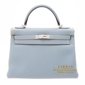 Hermes Kelly bag 32 retourne Bleu lin/Linen blue Togo leather Silver hardware