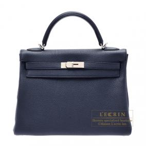 Hermes Kelly bag 32 retourne Bleu obscur/Obscure blue Clemence leather Silver hardware