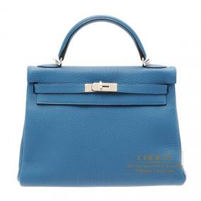 Hermes Kelly bag 32 retourne Blue de galice Togo leather Silver hardware
