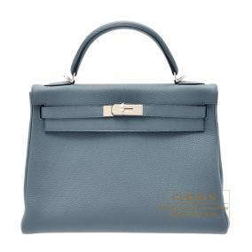Hermes Kelly bag 32 retourne Blue orage/Dark blue Togo leather Silver hardware