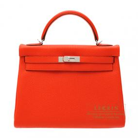 Hermes Kelly bag 32 retourne Capucine/Capucine orange Togo leather Silver hardware