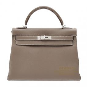 Hermes Kelly bag 32 retourne Etoupe/Taupe grey Togo leather Silver hardware