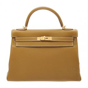 Hermes Kelly bag 32 retourne Kraft/Kraft beige Clemence leather Gold hardware