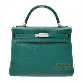 Hermes Kelly bag 32 retourne Malachite/Malachite green Clemence leather Silver hardware