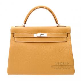 Hermes Kelly bag 32 retourne Natural Togo leather Silver hardware