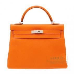Hermes Kelly bag 32 retourne Orange Togo leather Silver hardware